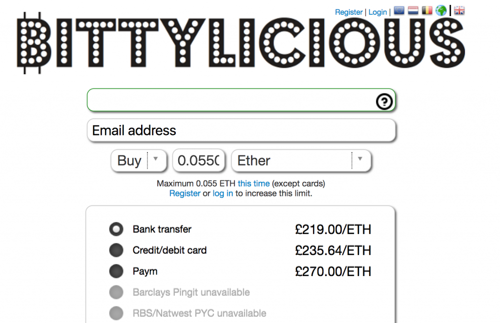 Bittylicious lets you buy cryptocurrency with British Pounds. We recommend using bank transfer for the best rate