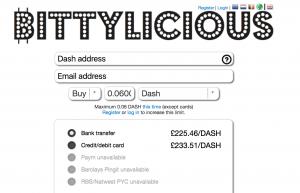 Buy Dash on Bittylicious in British Pound