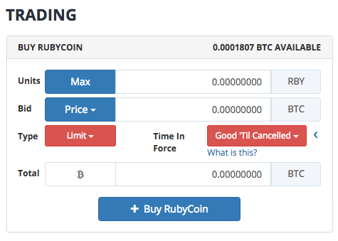 Buying RubyCoin from the UK using Bittrex