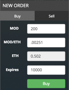 EtherDelta Buy Order