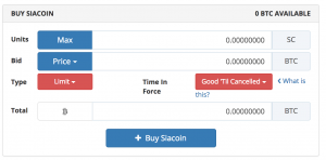 Bittrex Siacoin Interface