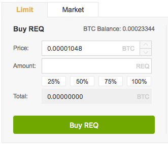 Buying panel Binance REQ