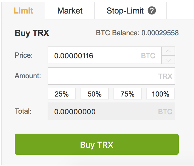 Buy TRX on Binance in the UK