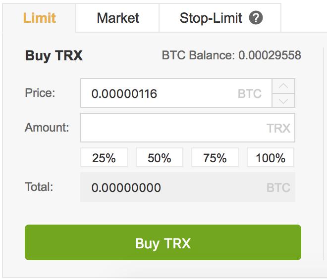 Buy TRX on Binance in the UK