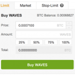 Binance Waves buying form