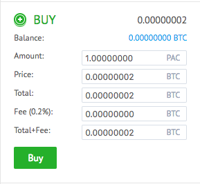 YoBit PACcoin buy window