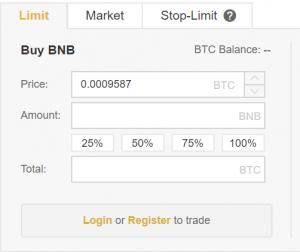 Binance BNB Buy Panel