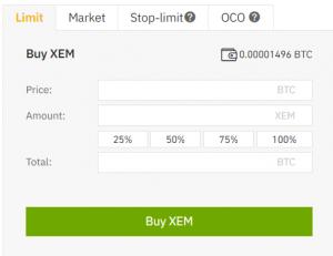 Buy XEM Binance